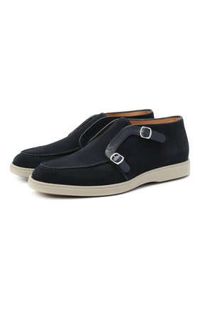Мужские замшевые ботинки SANTONI темно-синего цвета, арт. MGDT17104GMIESAHU60 | Фото 1