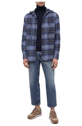 Мужская хлопковая рубашка RALPH LAUREN темно-синего цвета, арт. 790822185 | Фото 2