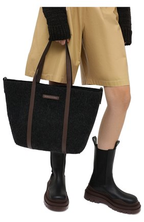 Женский сумка-шопер BRUNELLO CUCINELLI темно-серого цвета, арт. MB29D2103 | Фото 2