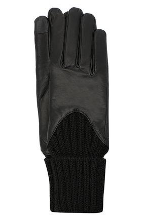 Женские кожаные перчатки с вязаными манжетами AGNELLE черного цвета, арт. CECILIA/A | Фото 1