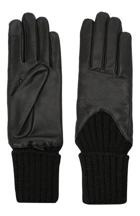 Женские кожаные перчатки с вязаными манжетами AGNELLE черного цвета, арт. CECILIA/A | Фото 2