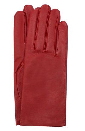 Женские кожаные перчатки с подкладкой из шелка AGNELLE красного цвета, арт. KATE/S | Фото 1