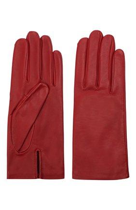 Женские кожаные перчатки с подкладкой из шелка AGNELLE красного цвета, арт. KATE/S | Фото 2