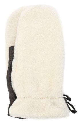 Женские меховые варежки AGNELLE белого цвета, арт. C0SETTA | Фото 1