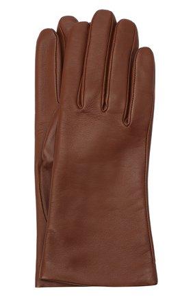Женские кожаные перчатки AGNELLE коричневого цвета, арт. INES/A | Фото 1