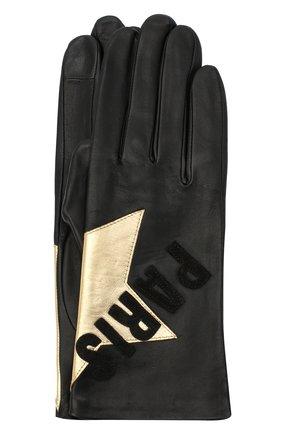 Женские кожаные перчатки AGNELLE черного цвета, арт. PARIS_STAR/S | Фото 1