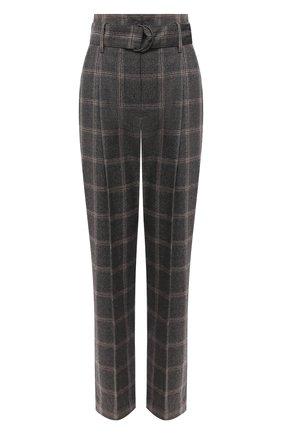 Женские шерстяные брюки BRUNELLO CUCINELLI коричневого цвета, арт. MB573P7476 | Фото 1