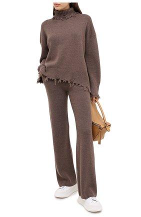 Женские кашемировые брюки ADDICTED коричневого цвета, арт. MK920   Фото 2