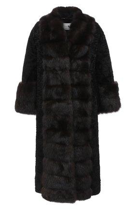 Женская шуба из меха каракульчи и соболя MANZONI24 черного цвета, арт. 20M854-PAZ/BLACK/EXTRADARK/38-46 | Фото 1