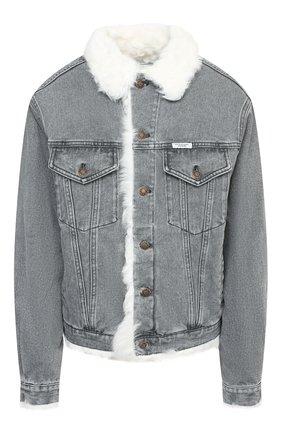 Женская джинсовая куртка с меховой подкладкой FORTE DEI MARMI COUTURE серого цвета, арт. FFW19-1107-01   Фото 1