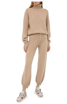 Женские кашемировые брюки CHLOÉ бежевого цвета, арт. CHC20AMT90500   Фото 2