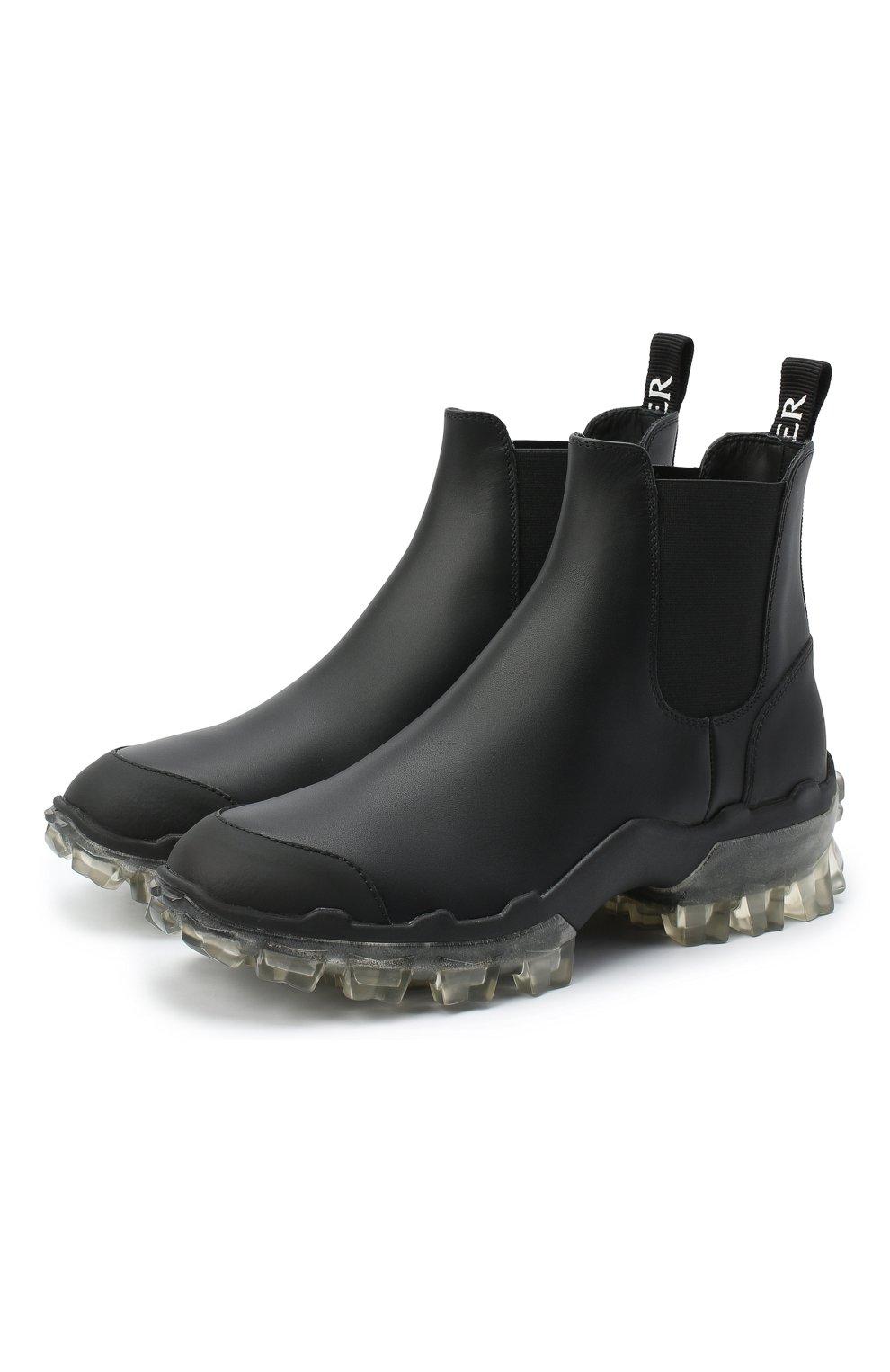 Женские кожаные  ботинки hanya MONCLER черного цвета, арт. F2-09B-4F701-00-02SFT   Фото 1