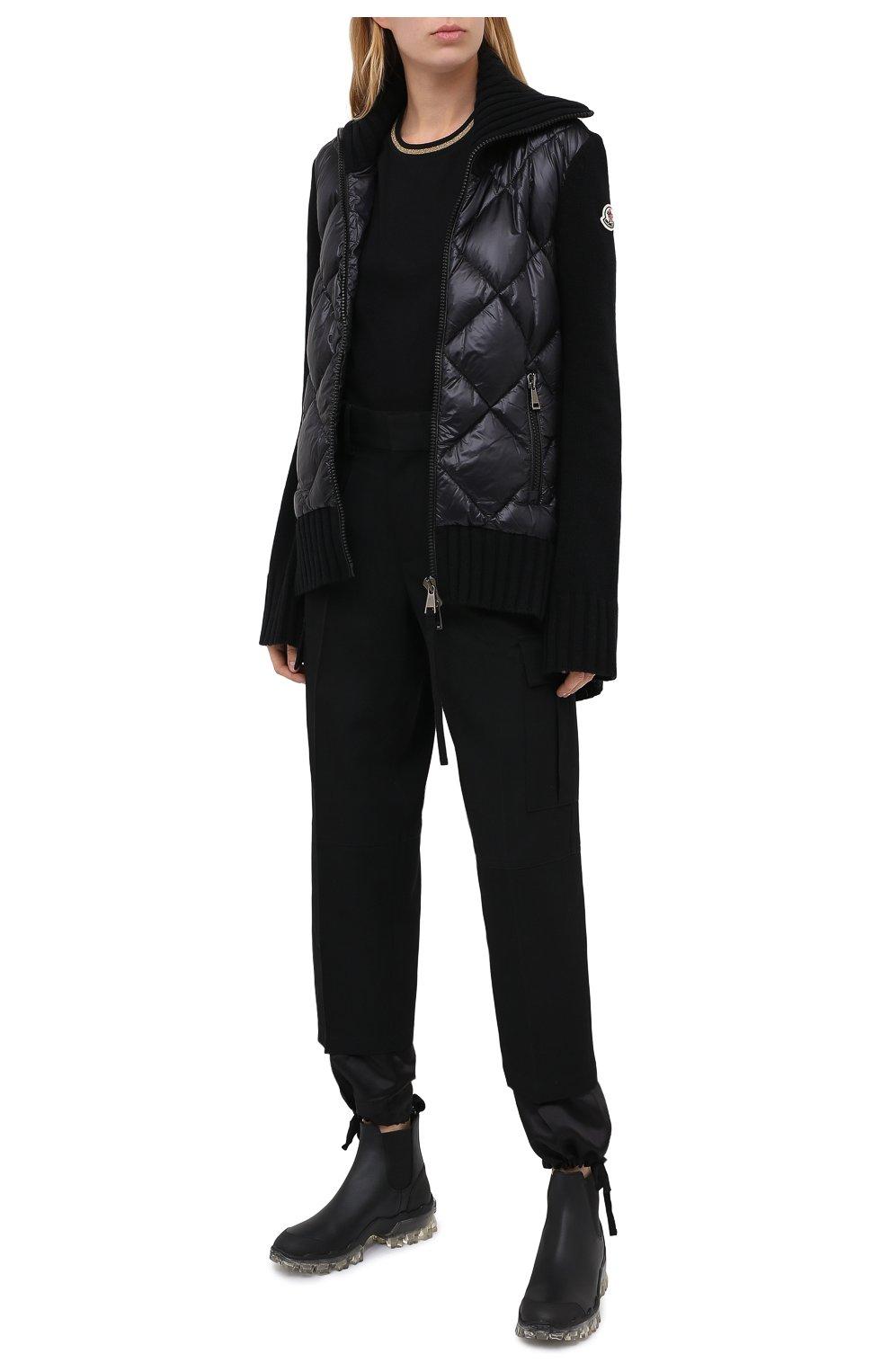 Женские кожаные  ботинки hanya MONCLER черного цвета, арт. F2-09B-4F701-00-02SFT   Фото 2