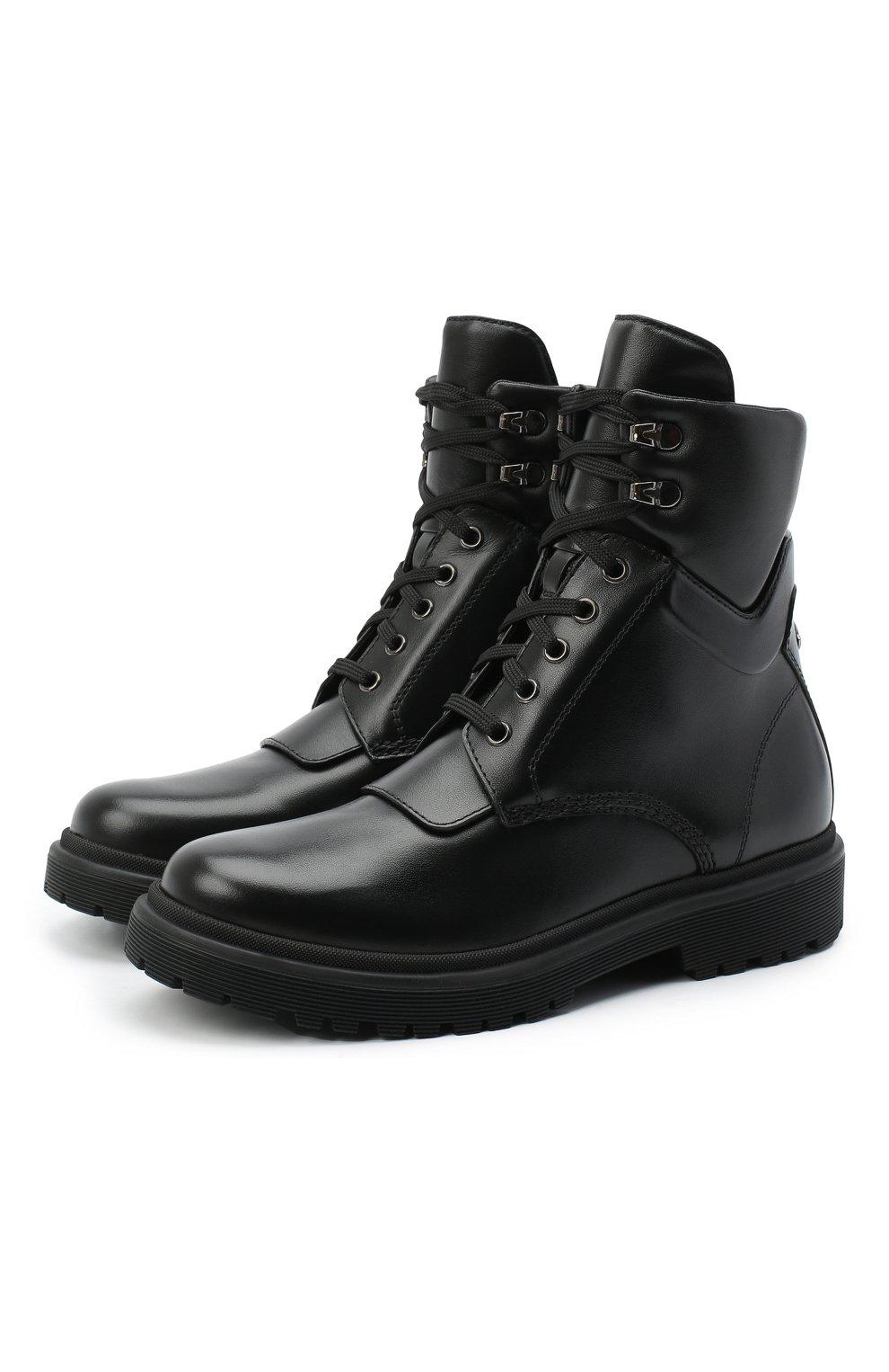 Женские кожаные ботинки patty MONCLER черного цвета, арт. F2-09B-4F705-00-019FA | Фото 1