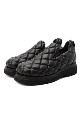 Мужские кожаные слипоны BOTTEGA VENETA черного цвета, арт. 632514/VBP80 | Фото 1