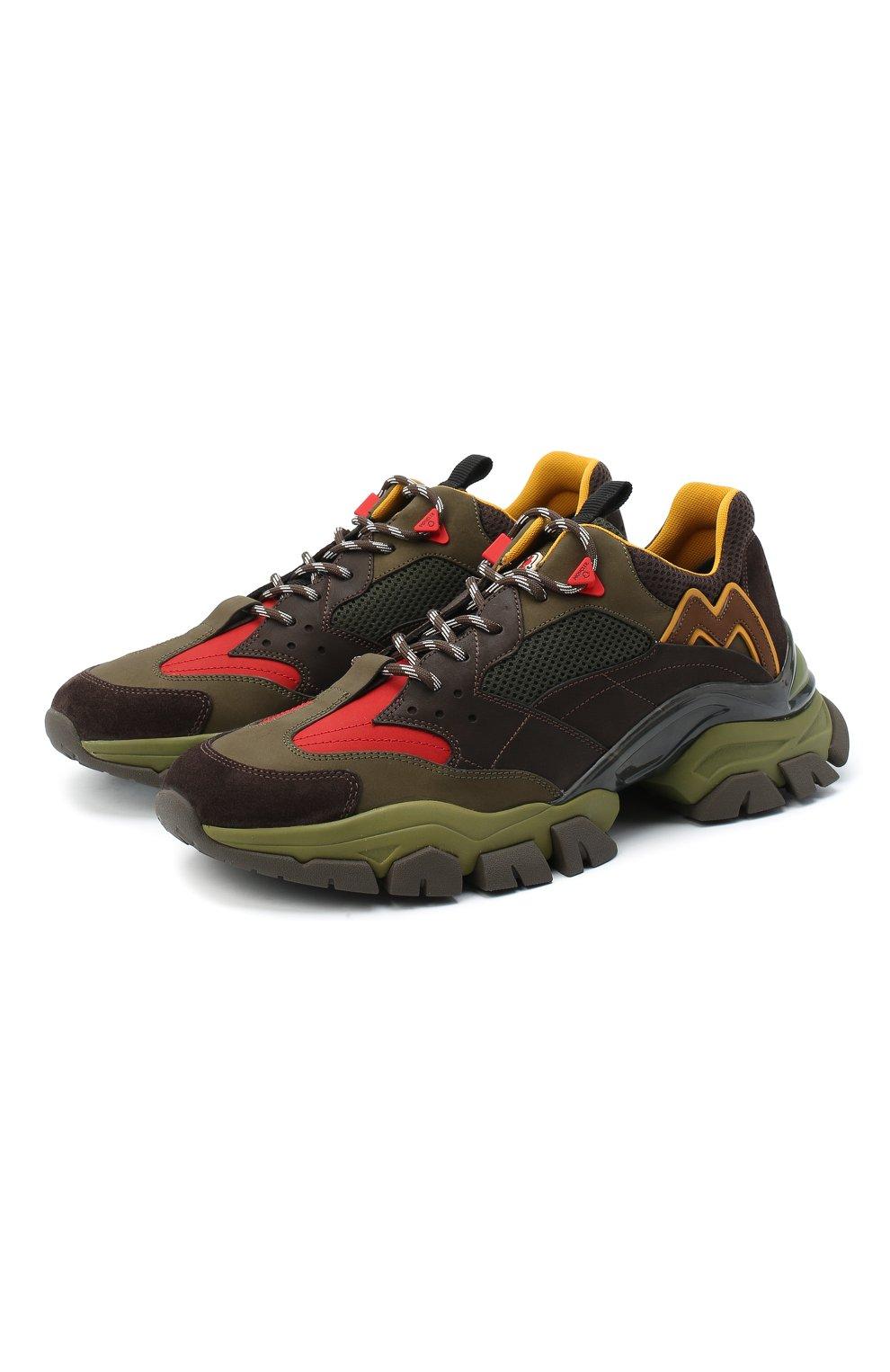 Мужские комбинированные кроссовки leave no trace MONCLER разноцветного цвета, арт. F2-09A-4M701-00-02SH6   Фото 1 (Материал внешний: Кожа; Материал внутренний: Натуральная кожа, Текстиль; Стили: Гранж; Подошва: Массивная)