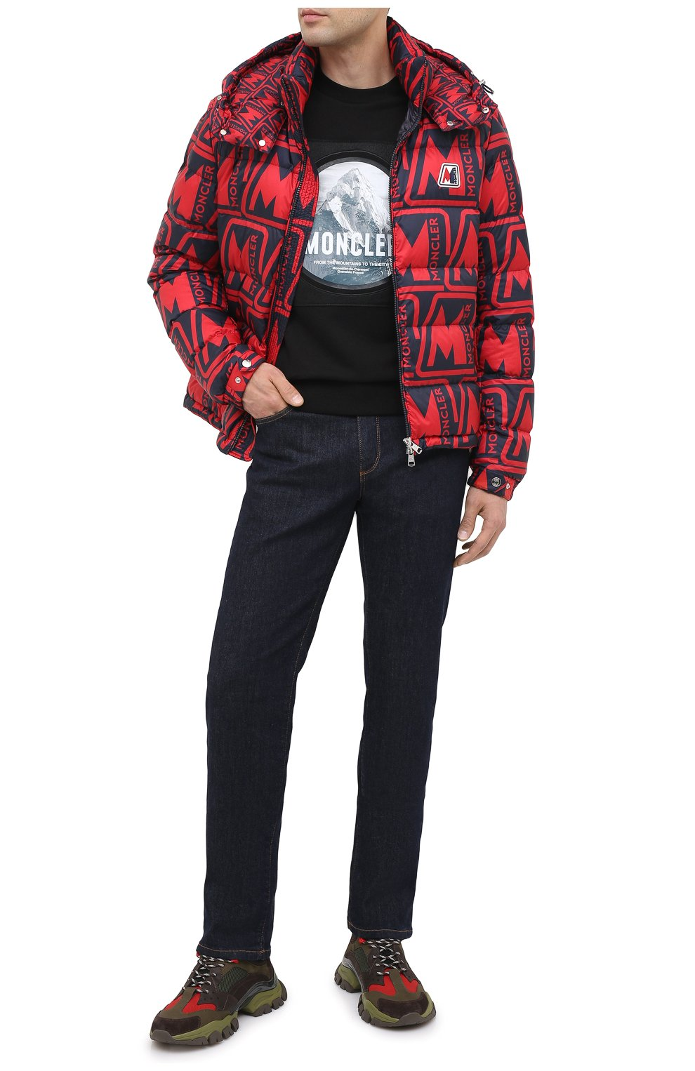 Мужские комбинированные кроссовки leave no trace MONCLER разноцветного цвета, арт. F2-09A-4M701-00-02SH6   Фото 2 (Материал внешний: Кожа; Материал внутренний: Натуральная кожа, Текстиль; Стили: Гранж; Подошва: Массивная)