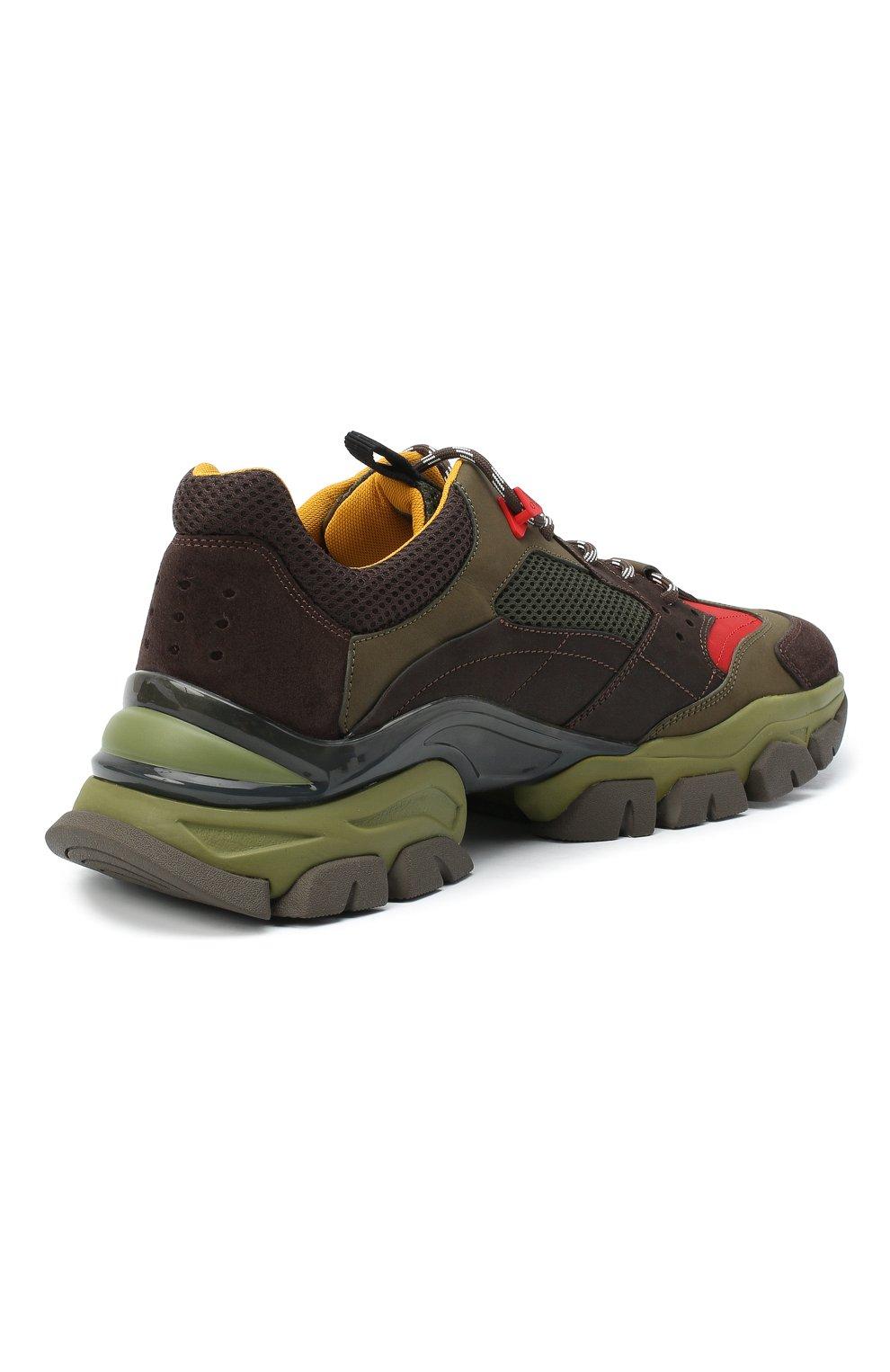 Мужские комбинированные кроссовки leave no trace MONCLER разноцветного цвета, арт. F2-09A-4M701-00-02SH6   Фото 4 (Материал внешний: Кожа; Материал внутренний: Натуральная кожа, Текстиль; Стили: Гранж; Подошва: Массивная)