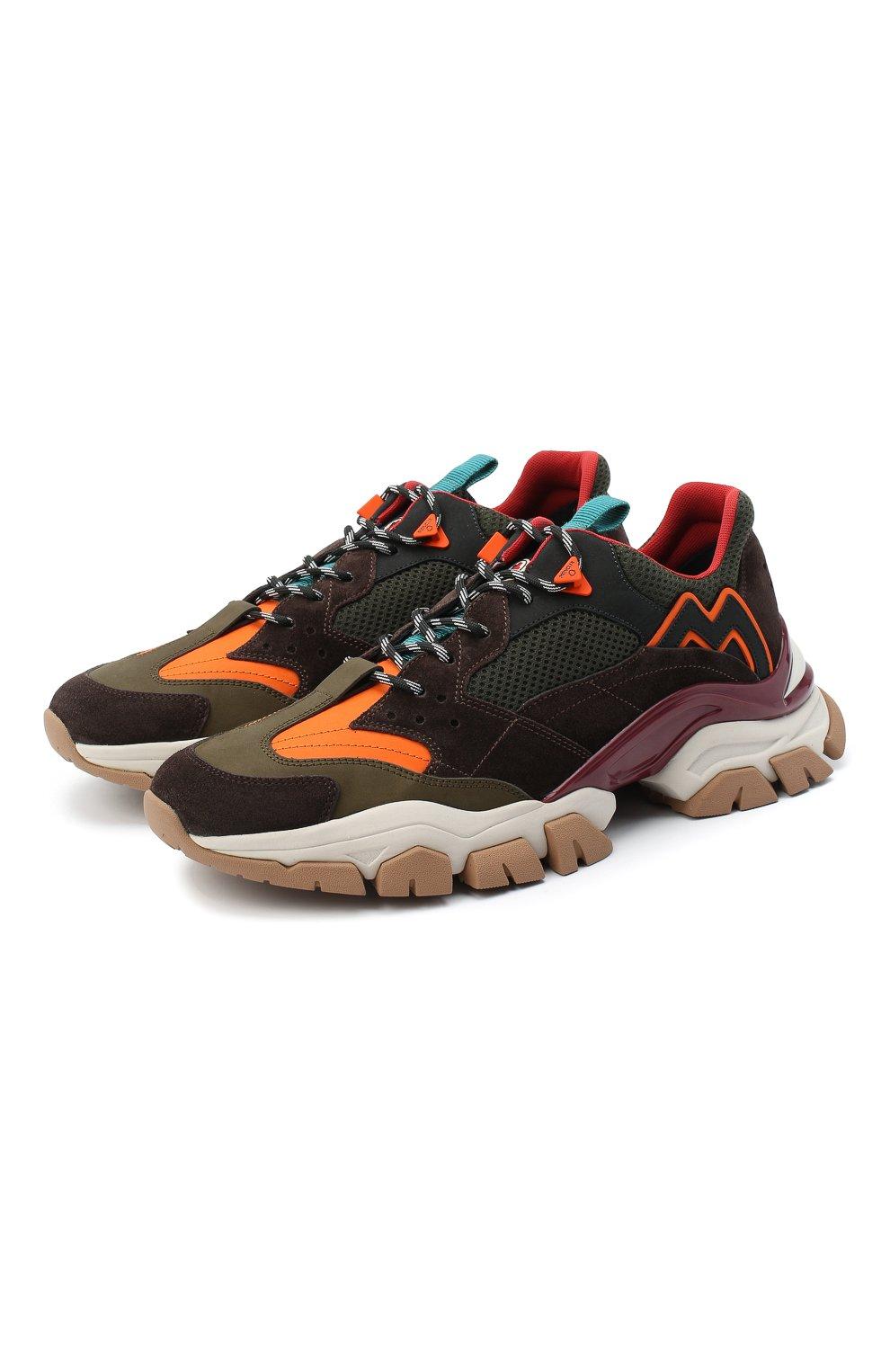 Мужские комбинированные кроссовки leave no trace MONCLER разноцветного цвета, арт. F2-09A-4M701-00-02SH9   Фото 1 (Материал внешний: Кожа; Материал внутренний: Натуральная кожа, Текстиль; Стили: Гранж; Подошва: Массивная)