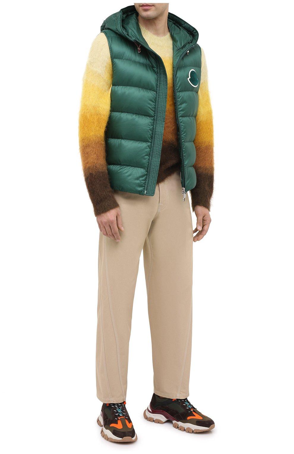 Мужские комбинированные кроссовки leave no trace MONCLER разноцветного цвета, арт. F2-09A-4M701-00-02SH9   Фото 2 (Материал внешний: Кожа; Материал внутренний: Натуральная кожа, Текстиль; Стили: Гранж; Подошва: Массивная)