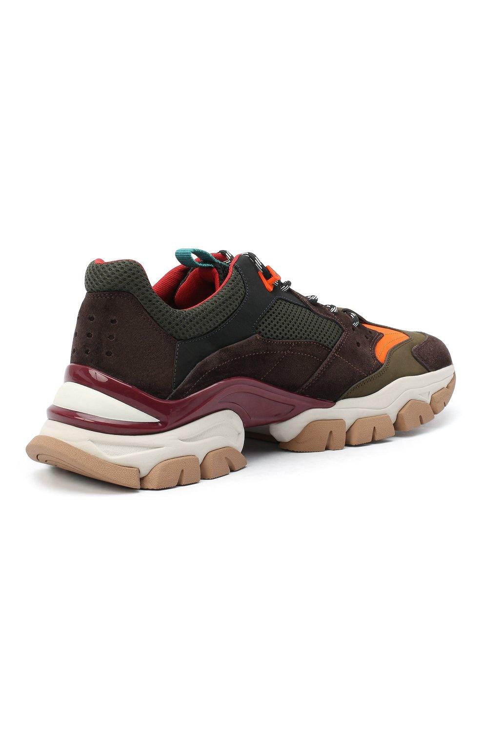 Мужские комбинированные кроссовки leave no trace MONCLER разноцветного цвета, арт. F2-09A-4M701-00-02SH9   Фото 4 (Материал внешний: Кожа; Материал внутренний: Натуральная кожа, Текстиль; Стили: Гранж; Подошва: Массивная)
