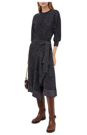 Женское шерстяное платье CHLOÉ темно-синего цвета, арт. CHC20AMR51680 | Фото 2