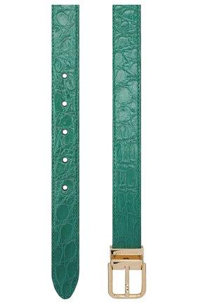 Женский ремень из кожи каймана DOLCE & GABBANA зеленого цвета, арт. BE1351/A2V84/CYAC | Фото 2 (Материал: Экзотическая кожа, Кожа)