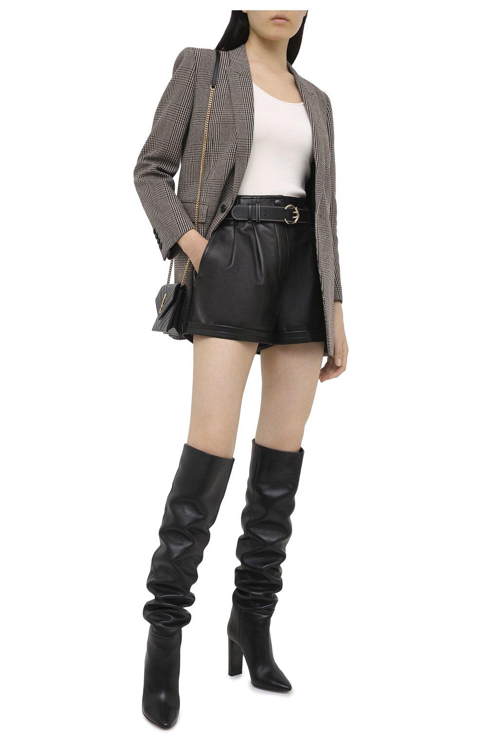 Женские кожаные шорты SAINT LAURENT черного цвета, арт. 630200/YC2ZZ | Фото 2