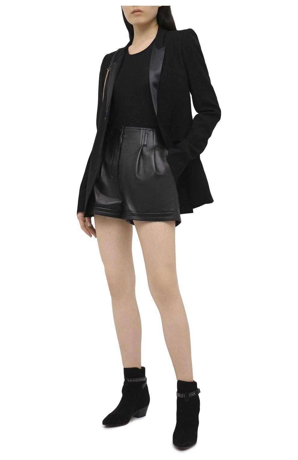 Женские кожаные шорты SAINT LAURENT черного цвета, арт. 630200/YC2ZZ | Фото 3