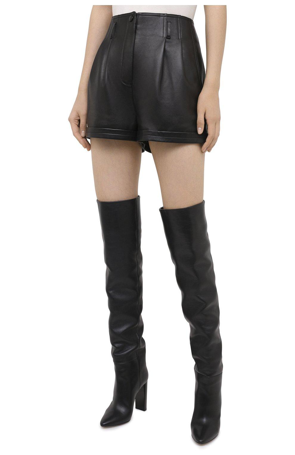Женские кожаные шорты SAINT LAURENT черного цвета, арт. 630200/YC2ZZ | Фото 4