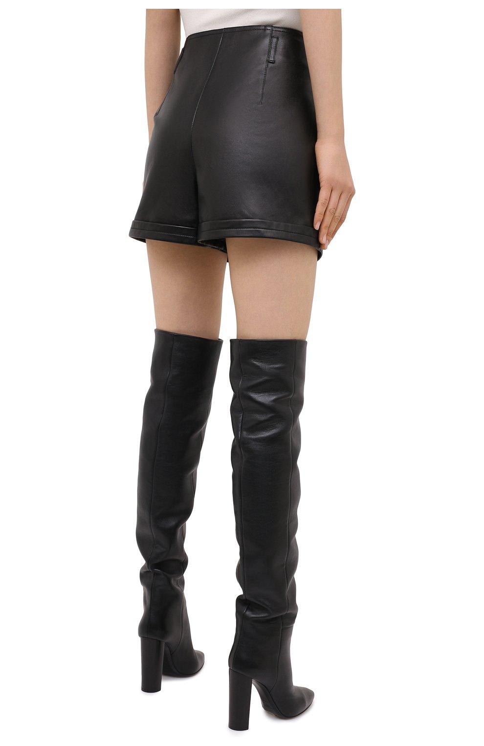 Женские кожаные шорты SAINT LAURENT черного цвета, арт. 630200/YC2ZZ | Фото 5