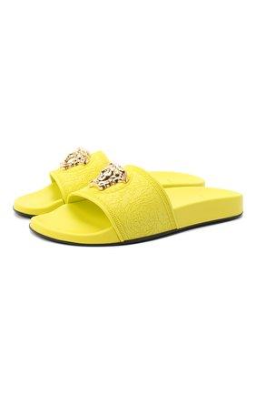 Женские резиновые шлепанцы barocco VERSACE желтого цвета, арт. DSR262CN/DG0M8 | Фото 1