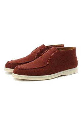 Женские замшевые ботинки open walk LORO PIANA коричневого цвета, арт. FAL2797 | Фото 1