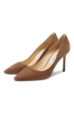 Женская замшевые туфли romy 85 JIMMY CHOO коричневого цвета, арт. R0MY 85/SUE | Фото 1