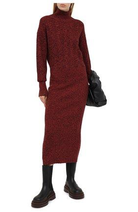 Женское платье из шерсти и хлопка KENZO бордового цвета, арт. FA62R05103AA | Фото 2