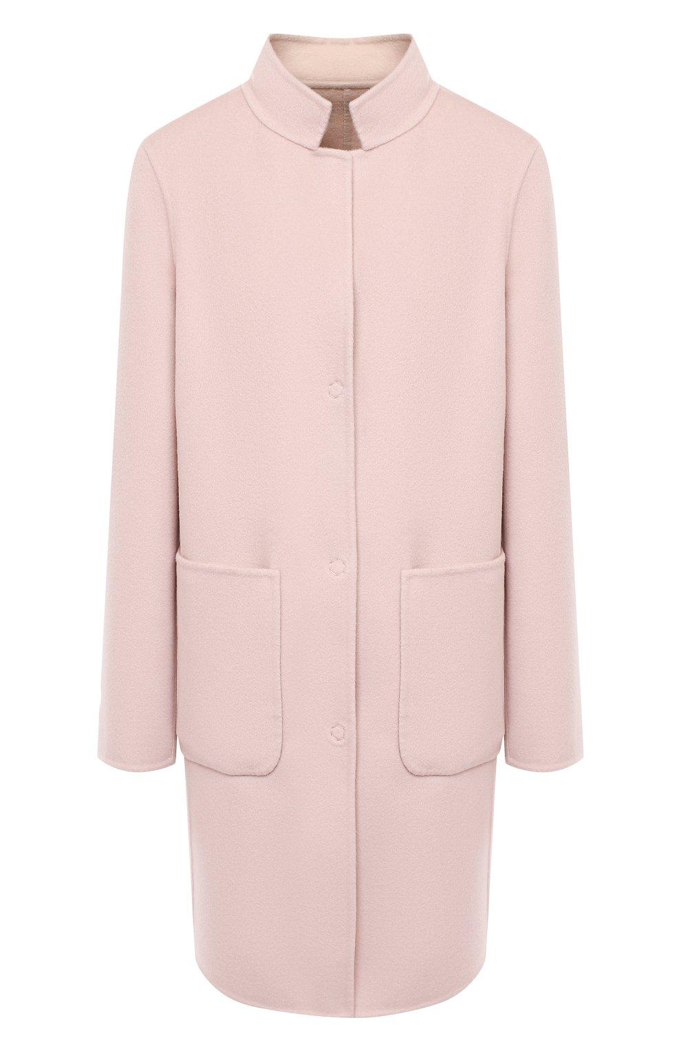 Женское пальто из шерсти и кашемира MANZONI24 светло-розового цвета, арт. 20M557-DB1/38-46 | Фото 1