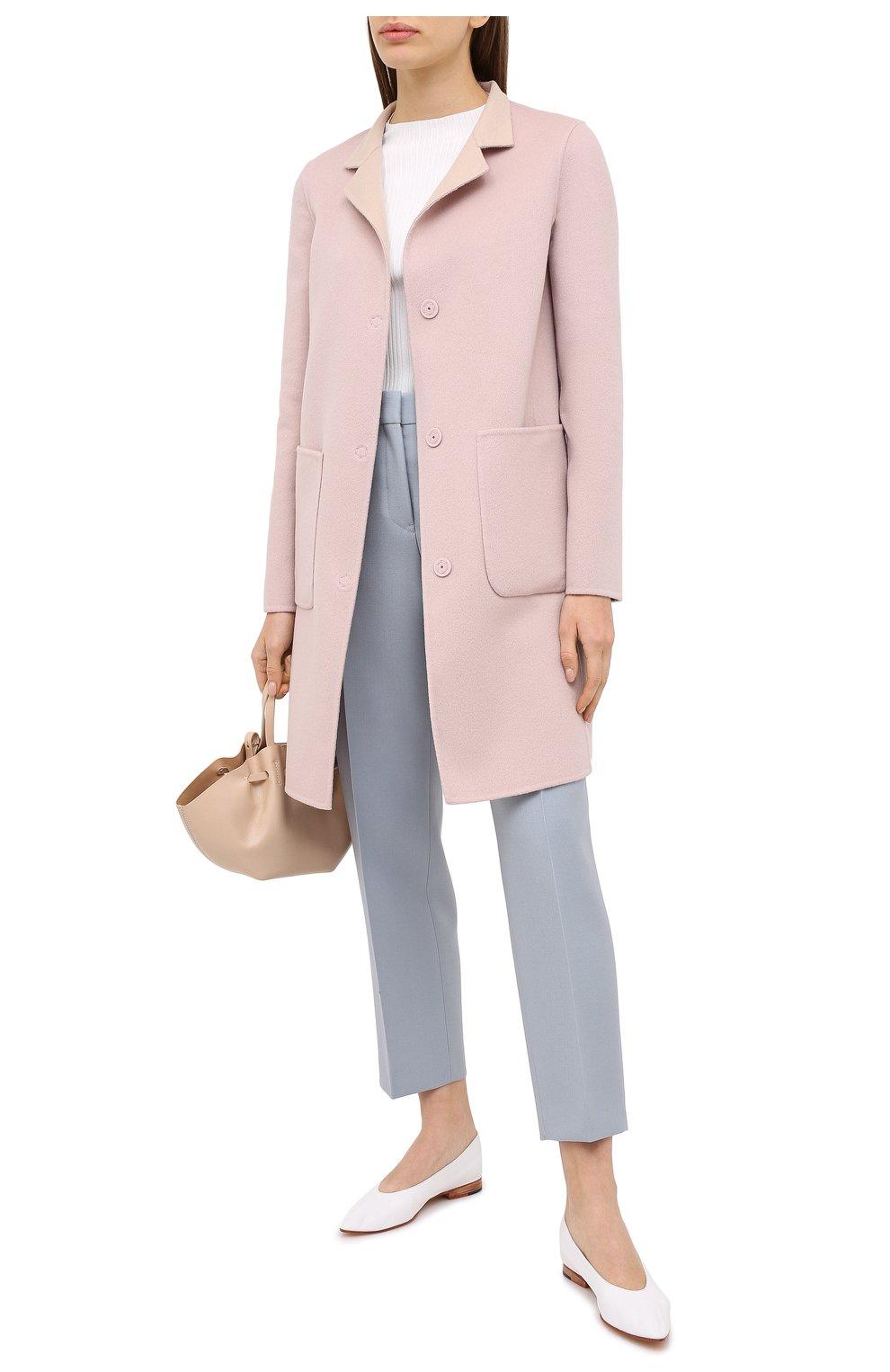 Женское пальто из шерсти и кашемира MANZONI24 светло-розового цвета, арт. 20M557-DB1/38-46 | Фото 2