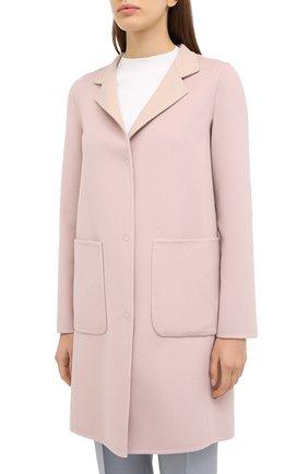 Женское пальто из шерсти и кашемира MANZONI24 светло-розового цвета, арт. 20M557-DB1/38-46 | Фото 4