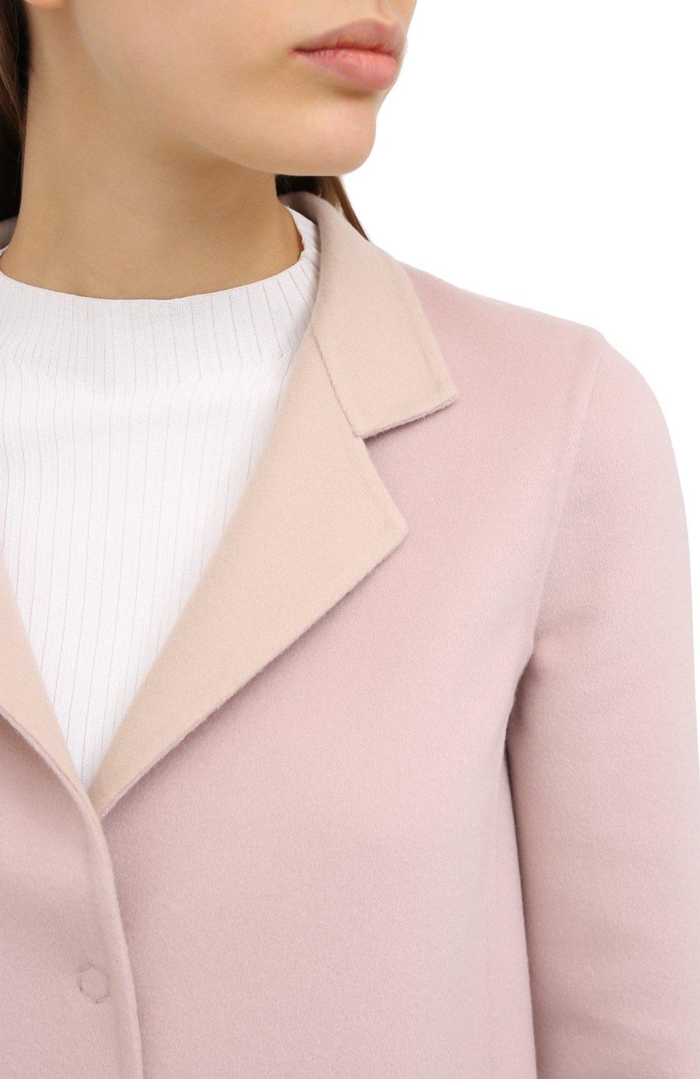 Женское пальто из шерсти и кашемира MANZONI24 светло-розового цвета, арт. 20M557-DB1/38-46 | Фото 6