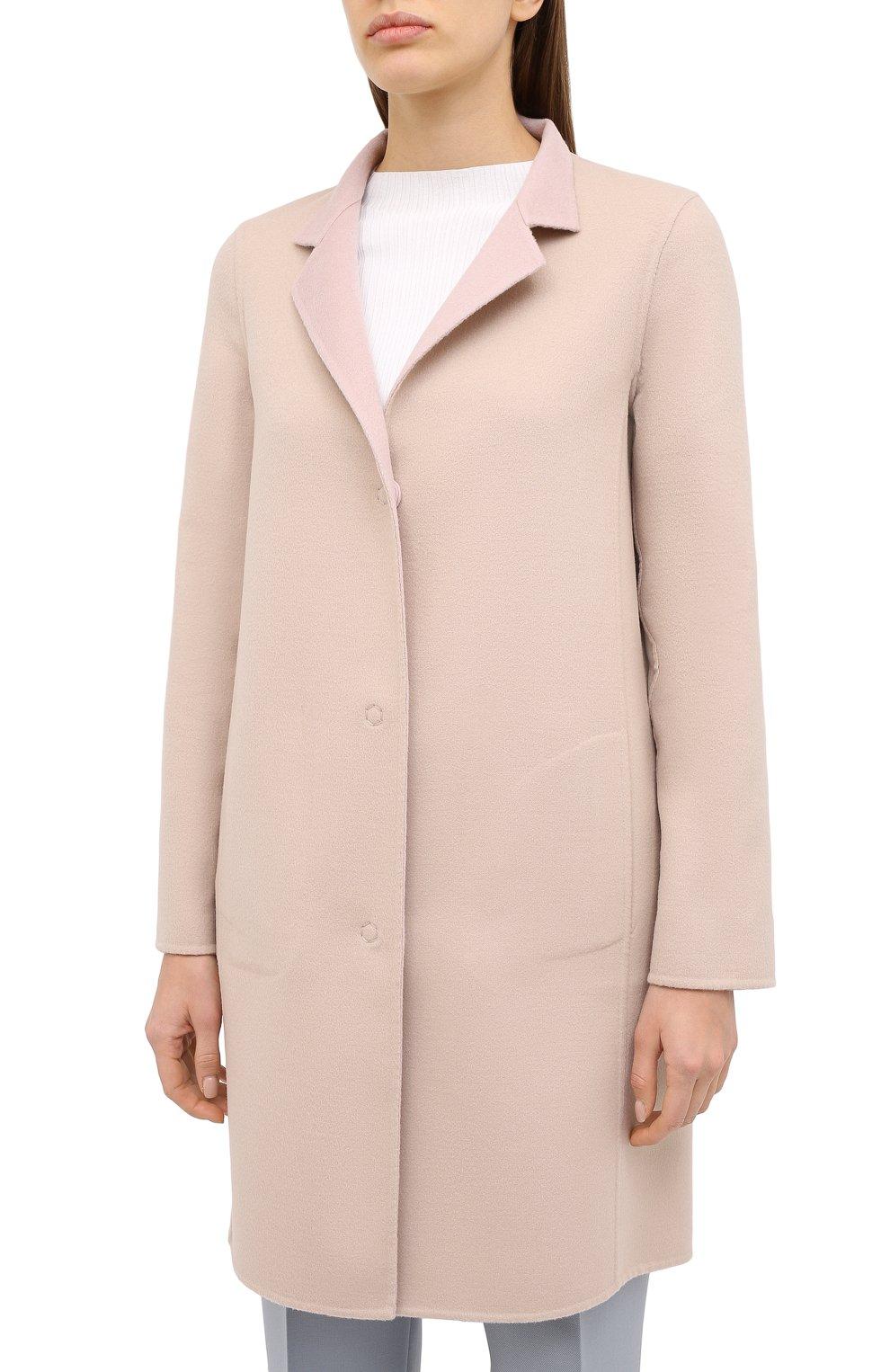 Женское пальто из шерсти и кашемира MANZONI24 светло-розового цвета, арт. 20M557-DB1/38-46 | Фото 7