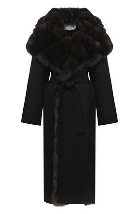 Женское шерстяное пальто с меховой отделкой MANZONI24 черного цвета, арт. 20M647-DB1Z/38-46 | Фото 1