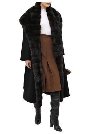 Женское шерстяное пальто с меховой отделкой MANZONI24 черного цвета, арт. 20M647-DB1Z/38-46 | Фото 2