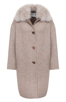 Женское шерстяное пальто MANZONI24 бежевого цвета, арт. 20M707-SP3CF/38-46 | Фото 1