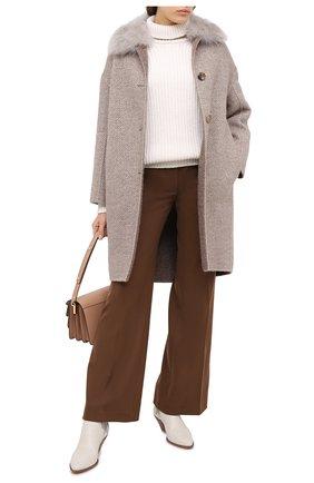 Женское шерстяное пальто MANZONI24 бежевого цвета, арт. 20M707-SP3CF/38-46 | Фото 2