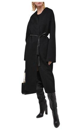 Женское пальто из шерсти и кашемира MANZONI24 черного цвета, арт. 20M742-DB1L8/38-46 | Фото 2