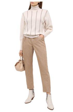 Женские джинсы BRUNELLO CUCINELLI золотого цвета, арт. MA176P5597 | Фото 2
