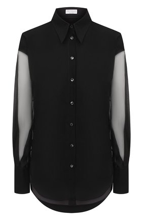 Женская шелковая блузка BRUNELLO CUCINELLI черного цвета, арт. MF940MW906   Фото 1