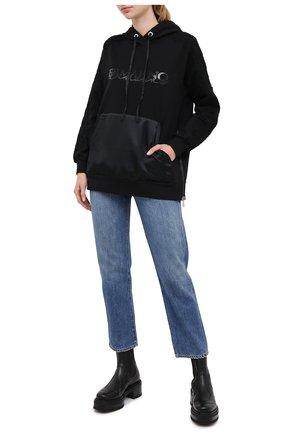 Женский хлопковое худи ERMANNO ERMANNO SCERVINO черного цвета, арт. 47T FL13 FEL | Фото 2