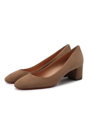 Женская замшевые туфли SANTONI светло-коричневого цвета, арт. WDLA58930HA2NMGDM60   Фото 1