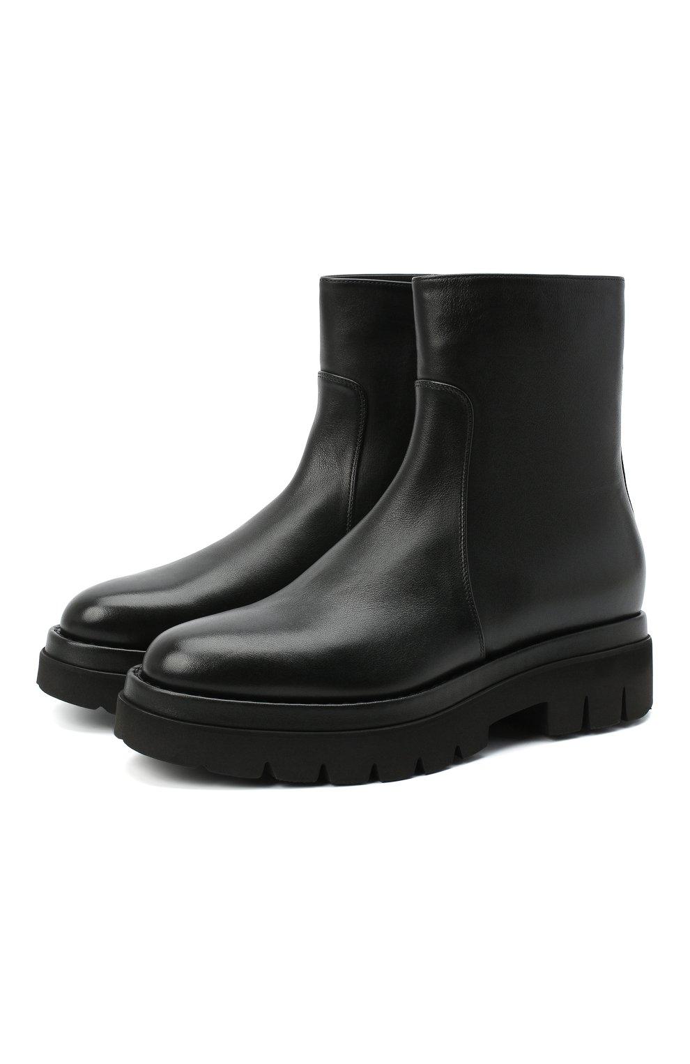 Женские кожаные ботинки SANTONI черного цвета, арт. WTER58956G0MNLMBN01 | Фото 1